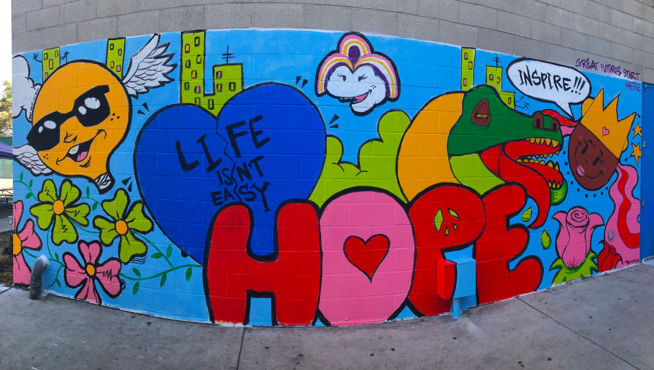 The final mural created by Lionel Milton and club members of the BGCMLA Watts-Willowbrook Clubhouse!