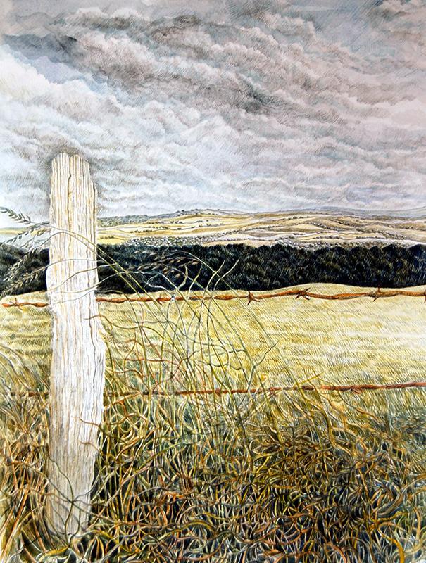 Darkening Sky  -  Awyr yn Tywyllu   320mm x 450mm, watercolour -  dwyfrlliw   Price -  Pris  £395