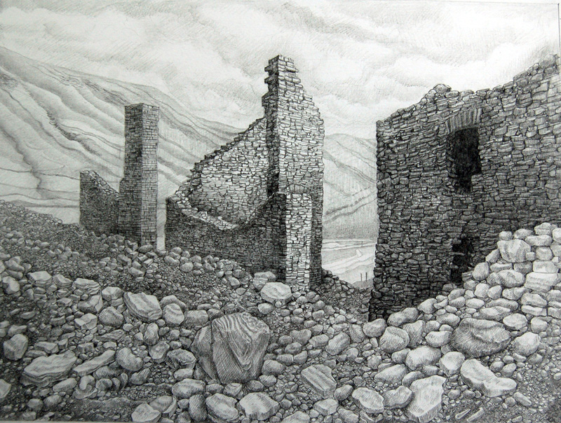 Work Place -  Gweithfan     230mm x 310mm, pencil -  pensil     SOLD -  Gwerthu