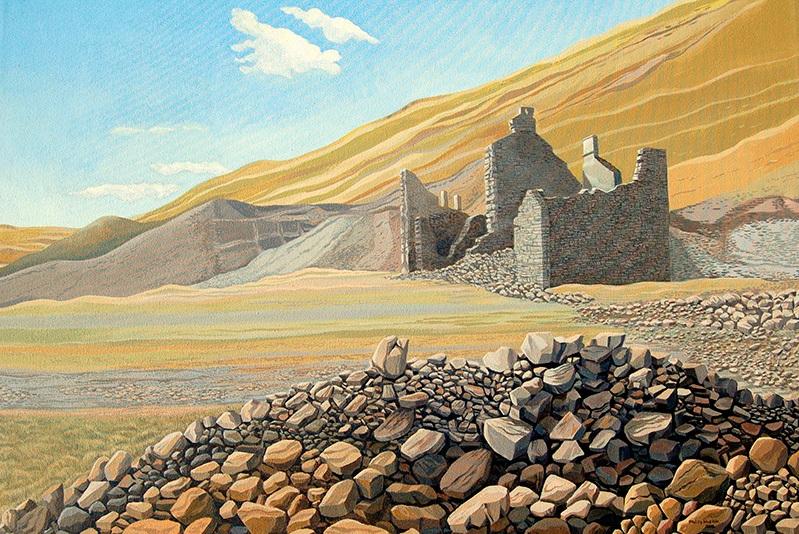 Ruins -  Adfeilion  625mm x 905mm, acrylic -  acrylig   SOLD - Gwerthu