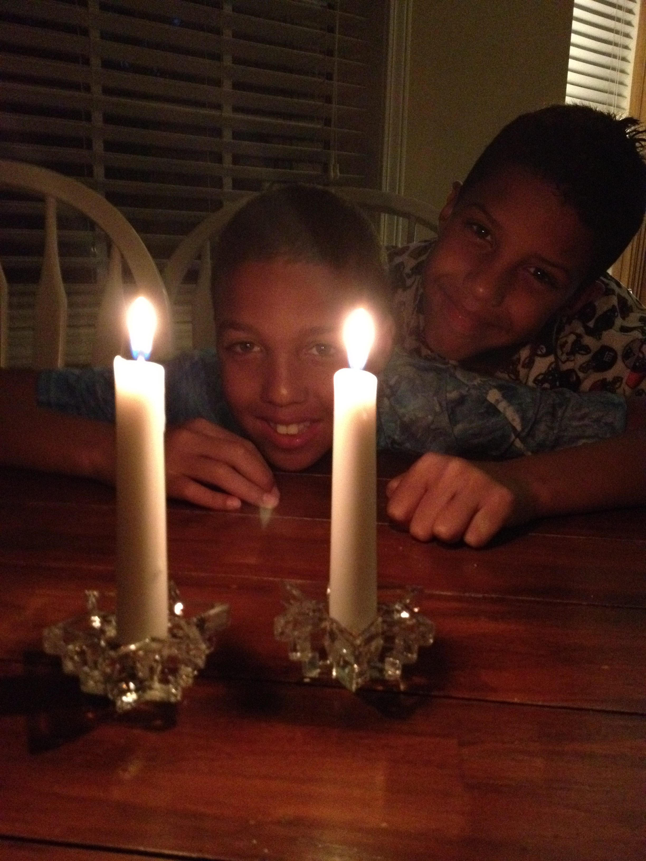 David and Daniel after lighting the candles to enter into the Sabbath.