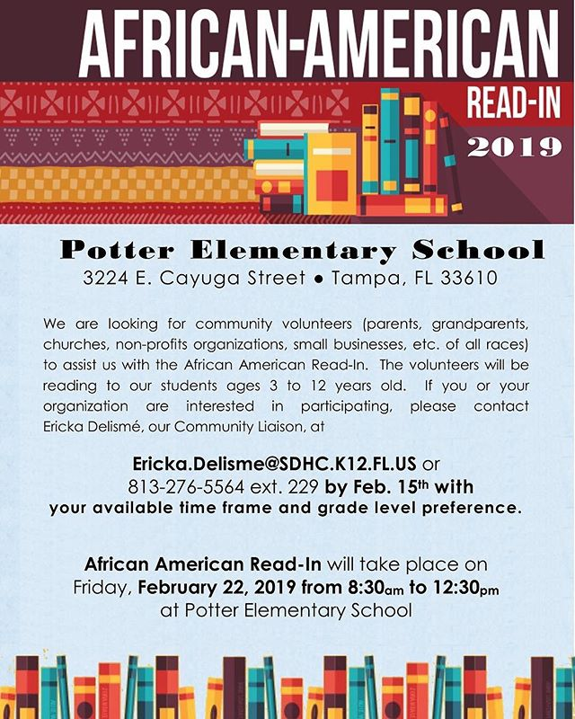 Join us Feb. 22 at 8:30am - 12:30pm for the African American Read-In!