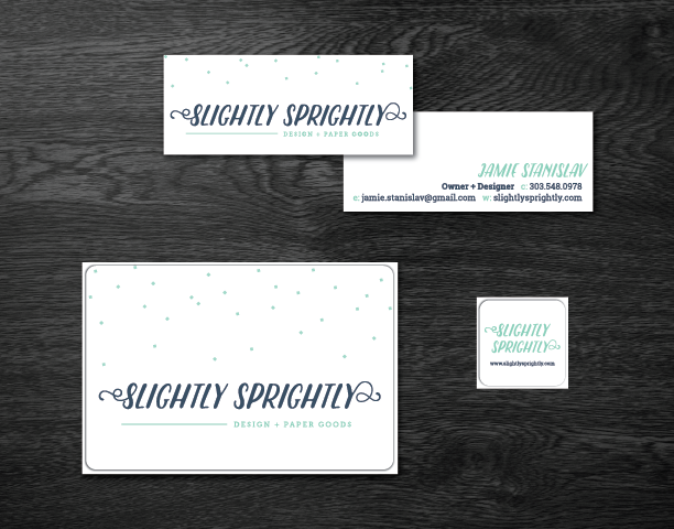 New business cards and packaging labels for shop orders.