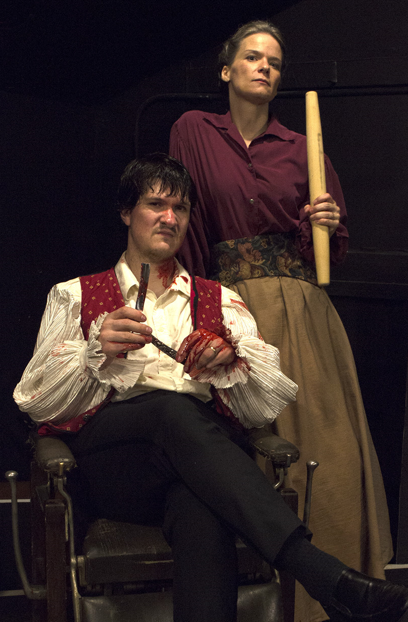 You've got to be carefully taught . .   Jason Shealy as Sweeney Todd and Yours Truly as Mrs. Lovett. Photo by Megan Phelps.
