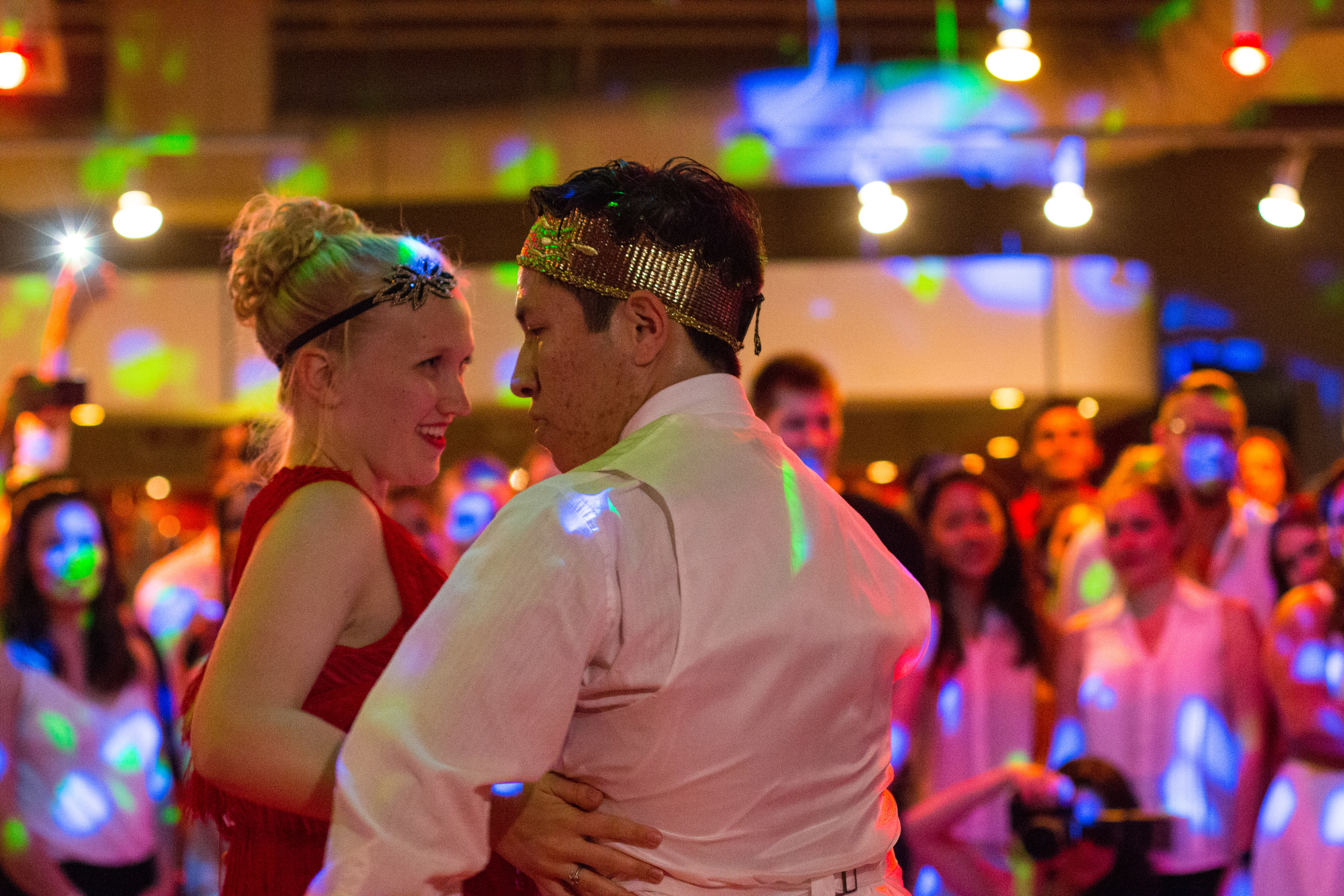 College kids from Cal State University Long Beach perform a Great Gatsby and Cinderella inspired salsa dance.