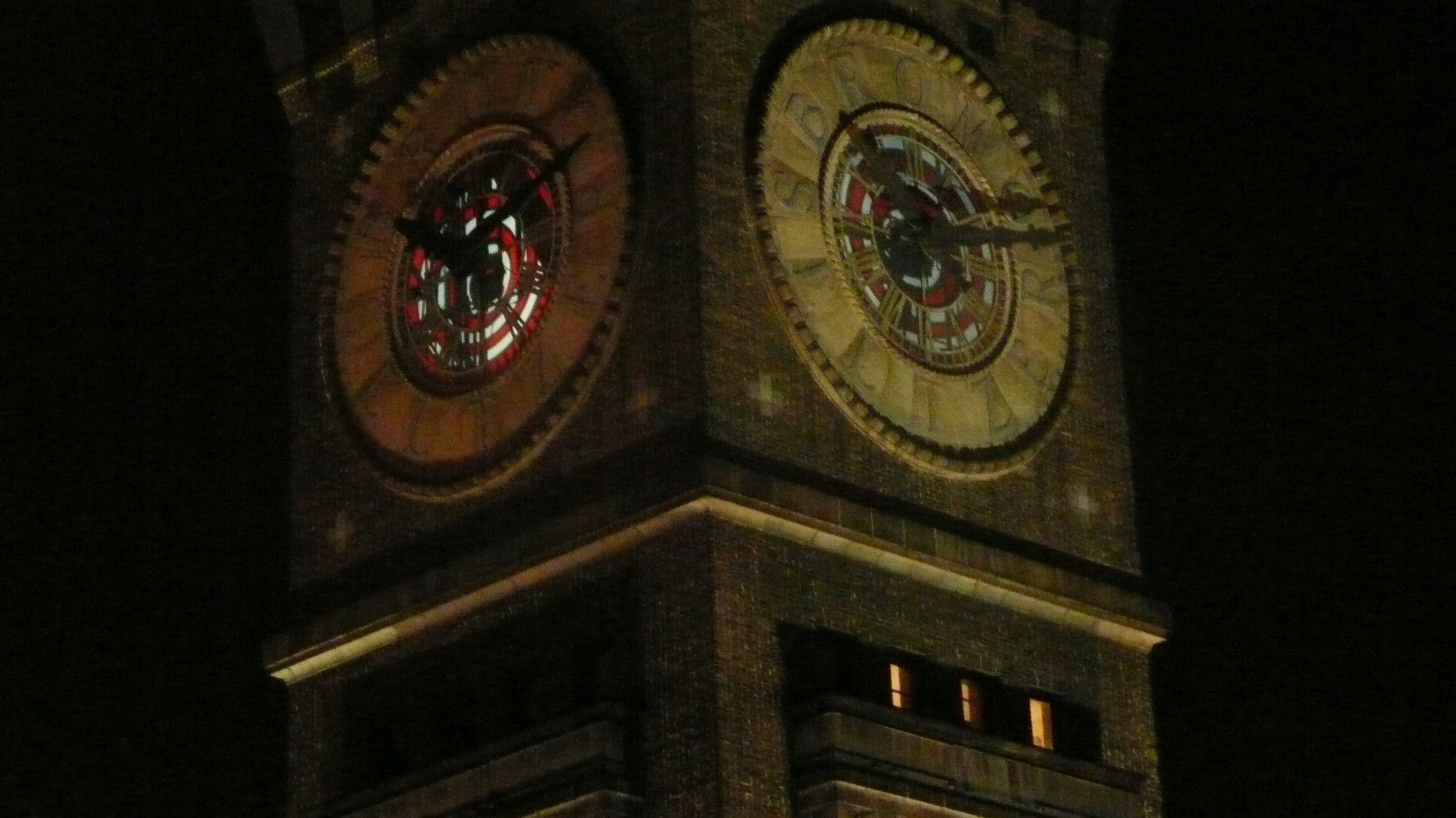 Exterior view of the Bromoseltzer Tower projections, Summer 2012