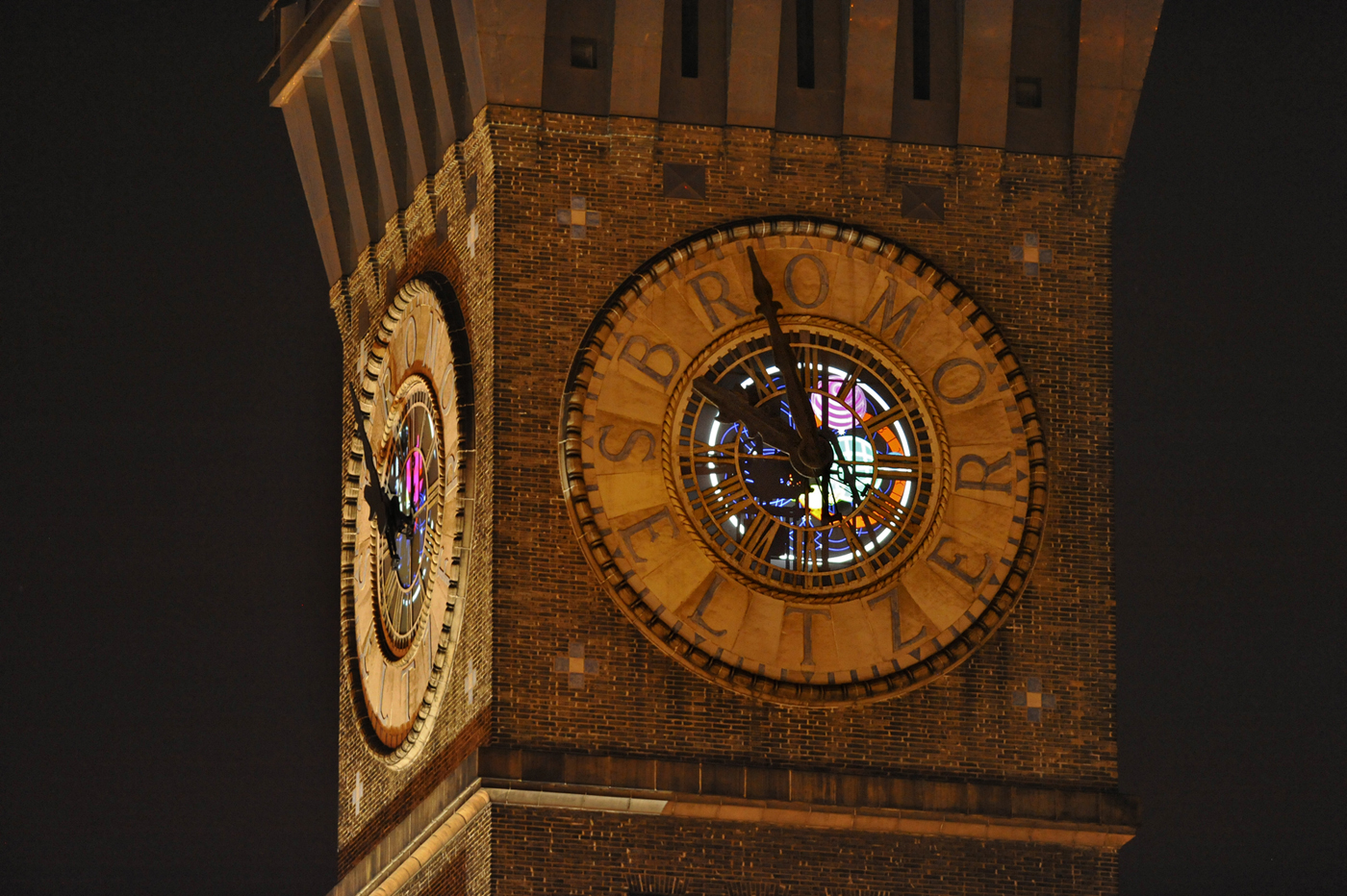 Exterior view of the Bromoseltzer Tower projections, Winter 2012.  Photo: Amy Davis, Baltimore Sun