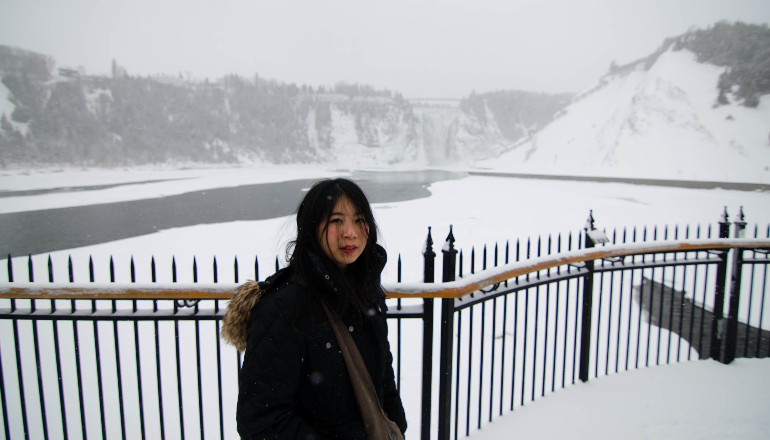 The steps of Montmorency Falls was closed off because of the snow unfortunately.