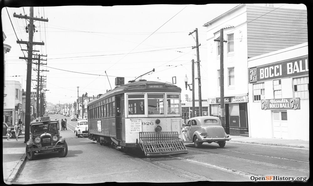 The H-Line along San Bruno Avenue at Woolsey Street in 1947. Photo from OpenSFHistory.