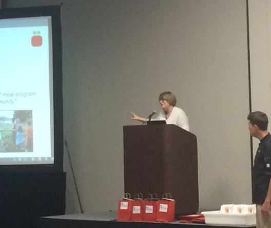 """Kymm shares insight with the audience at """"Measurable Differences"""" session while Glenn looks on. The session was presented jointly with First Choice Restaurant Supply."""