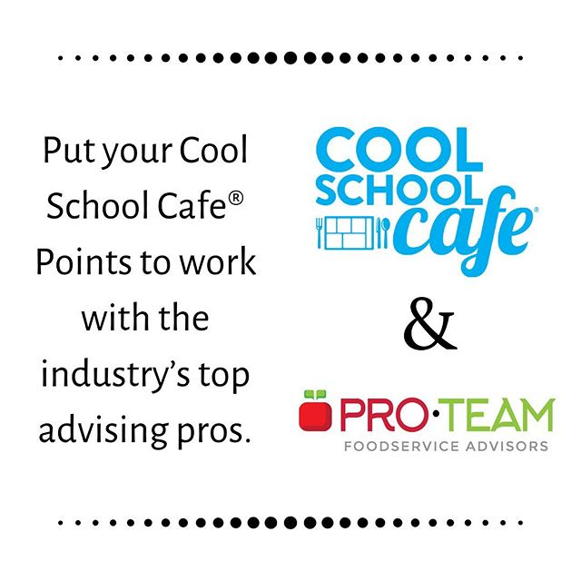Do you have Cool School CafeⓇ Points burning a hole in your pocket? Look no further. You can now purchase Pro•Team Foodservice Advisors Services with your Cool School CafeⓇ Points. At Pro•Team, we offer a variety of school nutrition services that are sure to meet your needs, everything from menu planning and cafeteria makeovers to staff training and fiscal solutions. We're excited to partner with Cool School CafeⓇ and hope you'll consider putting your Cool School CafeⓇ Points to work with Pro•Team! 🍎 . #proteamadvisors #fresheyes #menusolutions #fiscalsolutions #childnutrition #schoolnutrition #schoolfood #schoollunch #schoolbreakfast #schoolmeals #foodservice