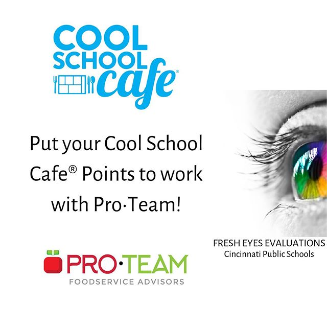 We're proud to partner with Cool School CafeⓇ, as a member company. What does that mean for you as a participating district? You can use your Cool School CafeⓇ Points to purchase Pro•Team Foodservice Advisors Services. 🍎 . Cincinnati Public Schools (CPS) used their points to help purchase a Fresh Eyes Evaluation last year. Their evaluation included continuous improvement plans, which focused on participation, marketing, and fiscal responsibility. With these plans, along with our collaboration and communication, CPS felt more confident than ever that their next action steps would help them achieve the vision they had for their department. 🌟 . If you want to learn more, contact us using the email in our profile. .  #proteamadvisors #fresheyes #menusolutions #fiscalsolutions #childnutrition #schoolnutrition #schoolfood #schoollunch #schoolbreakfast #schoolmeals #foodservice