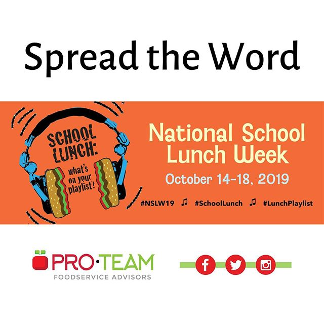 Happy National School Lunch Week! 🥳 . You've done the work to decorate your cafeterias and engage your students in #NSLW19, but have you spread the word? Use your department's or district's social media platforms to let those inside and outside the walls of your schools know what you're doing to celebrate. 🎉 . #proteamadvisors #fresheyes #menusolutions #fiscalsolutions #childnutrition #schoolnutrition #schoolfood #schoollunch #schoolbreakfast #schoolmeals #foodservice #NSLW
