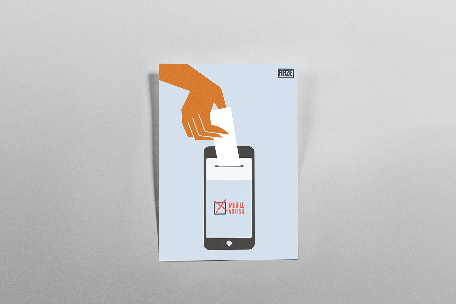 A print advertisement for a potential feature of the app: Mobile Voting