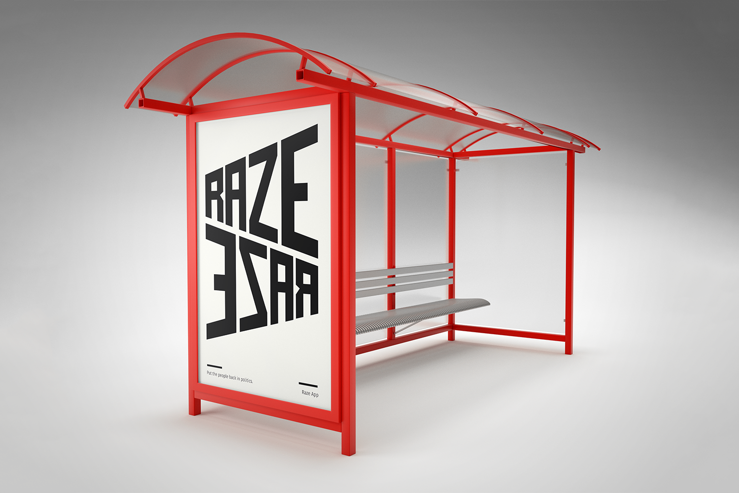 A bus stop advertisement for the Raze mobile app