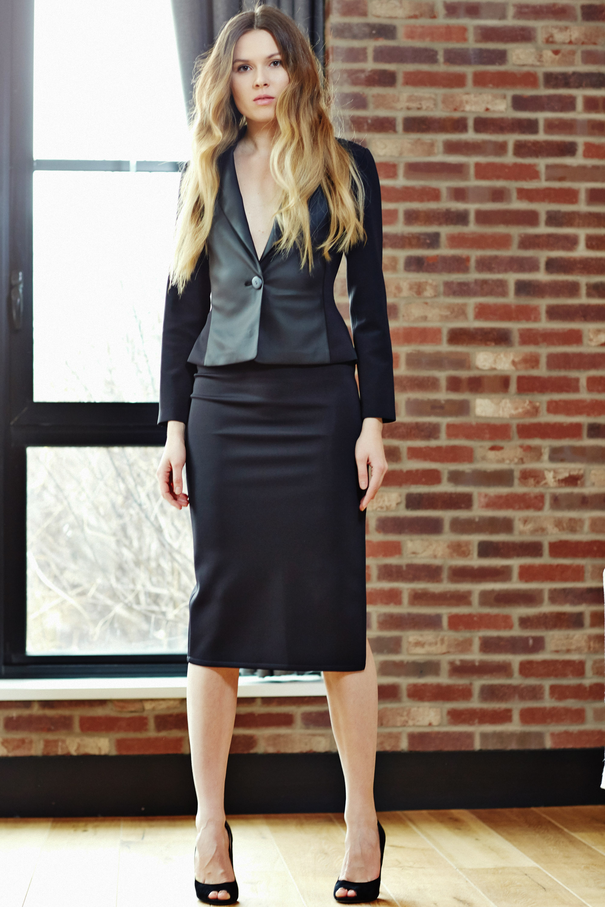 Minika-Ko-Kovasky-Collection-Lookbook-Fashion-Performance-Fabrics-Black-PowerSuit-Faux-Leather-Suit-Jacket-and-high-slit-skirt-with-reflective-slit-career-wear-business-casual-style.jpg