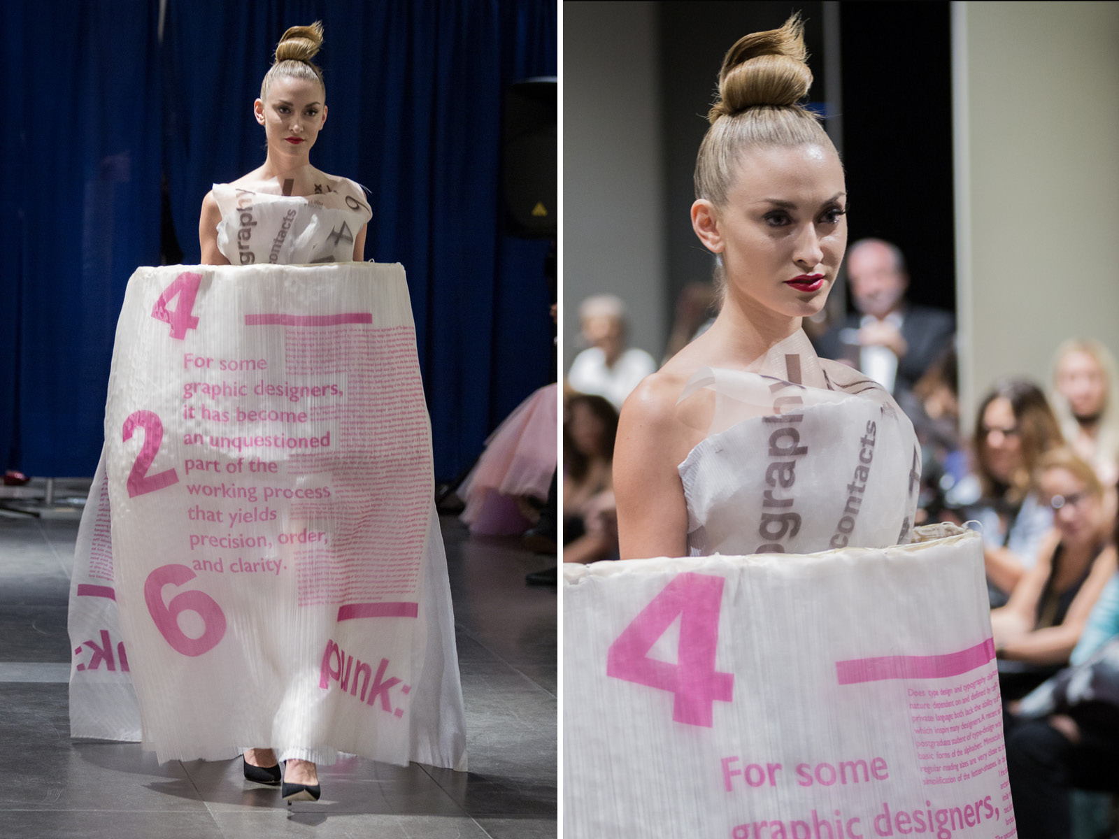 Graphic design by SVA student: Jansi Buckles.This dress was designed and made by Minika Ko Atelier.