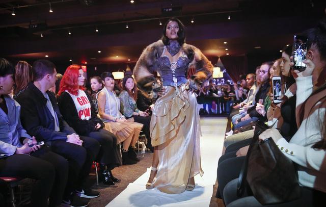 Melissa Davis, 22, models #MeToo fashion during Fashion Week.  Photo:AP