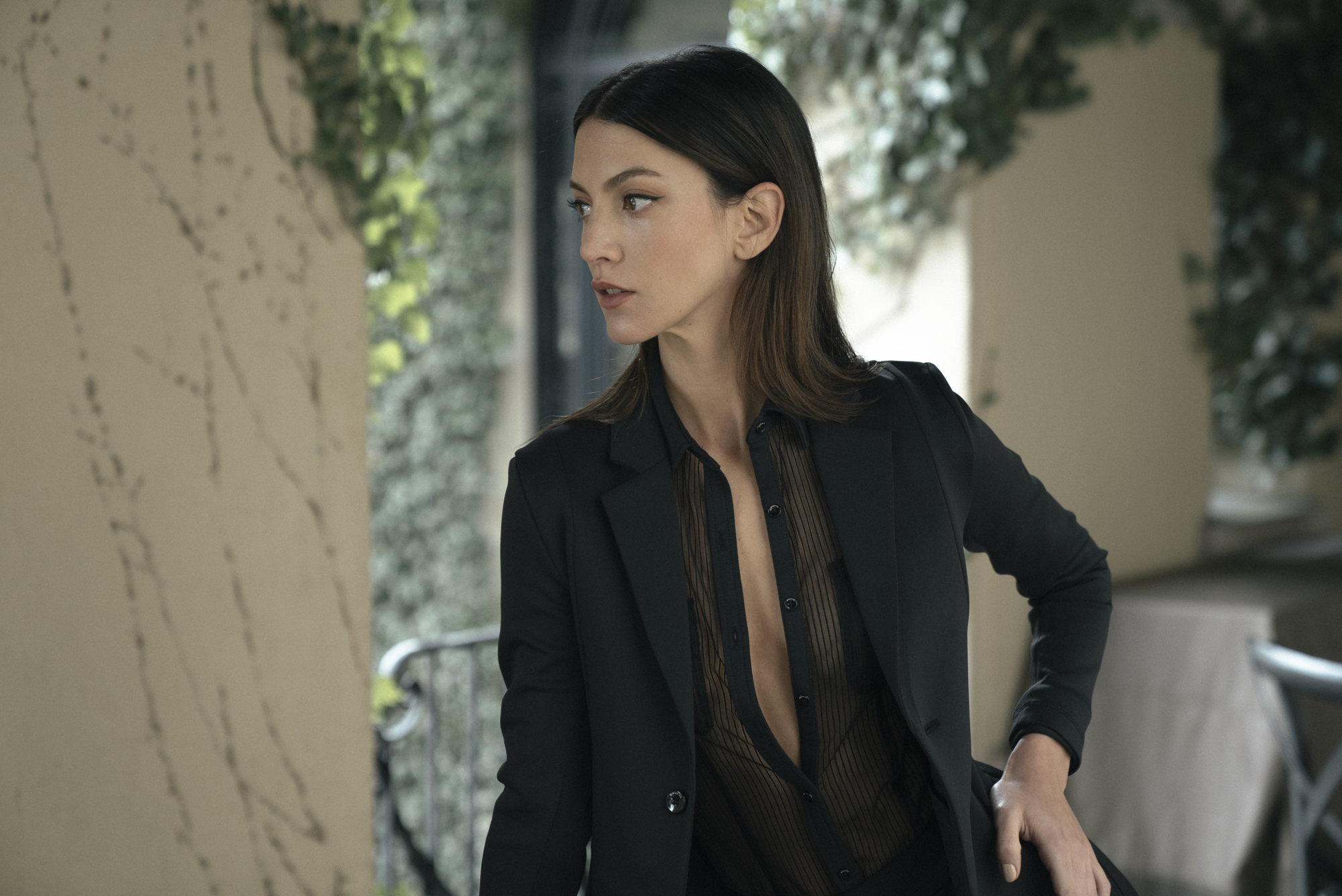 Photos by Andrew Chuang\ Model Alexandra Mendoza wearing the Knockout Suit and shirt\ Stylist Sophia Peng