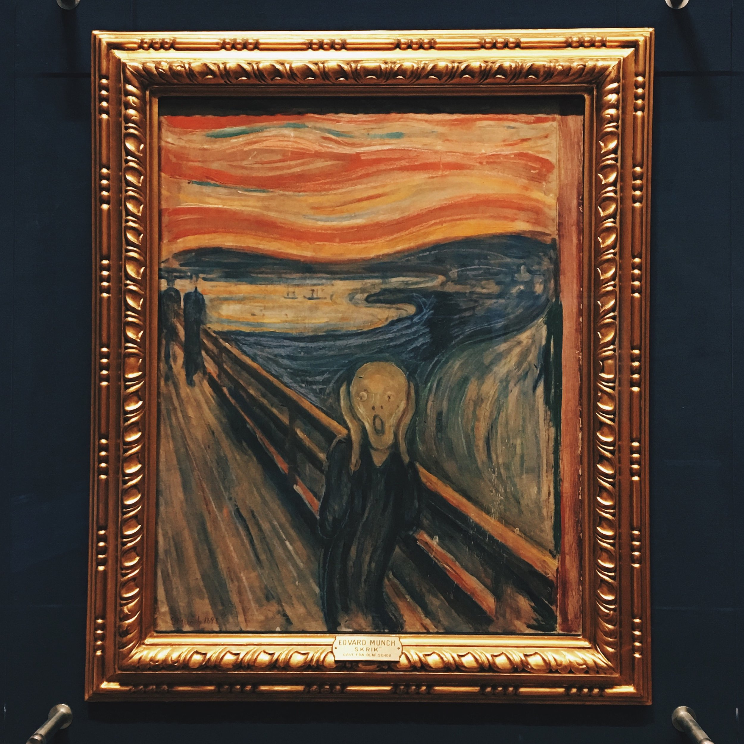 The Scream  (1893)   by Edvard Munch; Photo taken by me at the Nasjonalmuseet in Oslo, Norway in 2017.