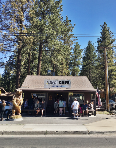 Breakfast at Big Bear's famous Grizzley Manor. Always worth the wait.