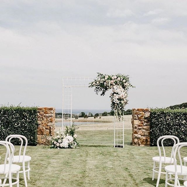 Monday's | Minimal doing plenty when nature delivers a view like this. Anna + Alex ceremony set ~  Photography @cassandraladru | Florals @poppyculture_hq | Hire @memphis_hire & @marqueemonkeys | Styling & Planning @nowadaysgroup