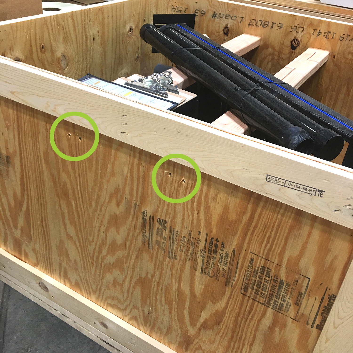 Remove the set(s) of two (2) screws on each side of the crate that secures the crossbar(s) inside the crate. Two crossbars shown in the image above – your specific crate may only include a single crossbar.