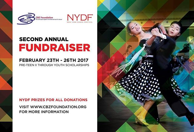 CBZ Foundation is a proud supporter of New York Dance Festival @nydancefestival on February 23 - 26th 2017 by Eugene Katsevman & Maria Manusova. Over $4000 of #Scholarships will be awarded to Pre-Teen II to Youth #dancers in the #Ballroom & #Latin events. In return for your #donations you will receive exclusive NYDF and #Vendor prizes! It is only with your financial #support that can we continue to keep supporting the #future of #dancesport. Please visit www.cbzfoundation.org/nydf-fundraiser to learn more and #DONATE.  #sponsoringdreams #cbzfoundation #growingupdancing