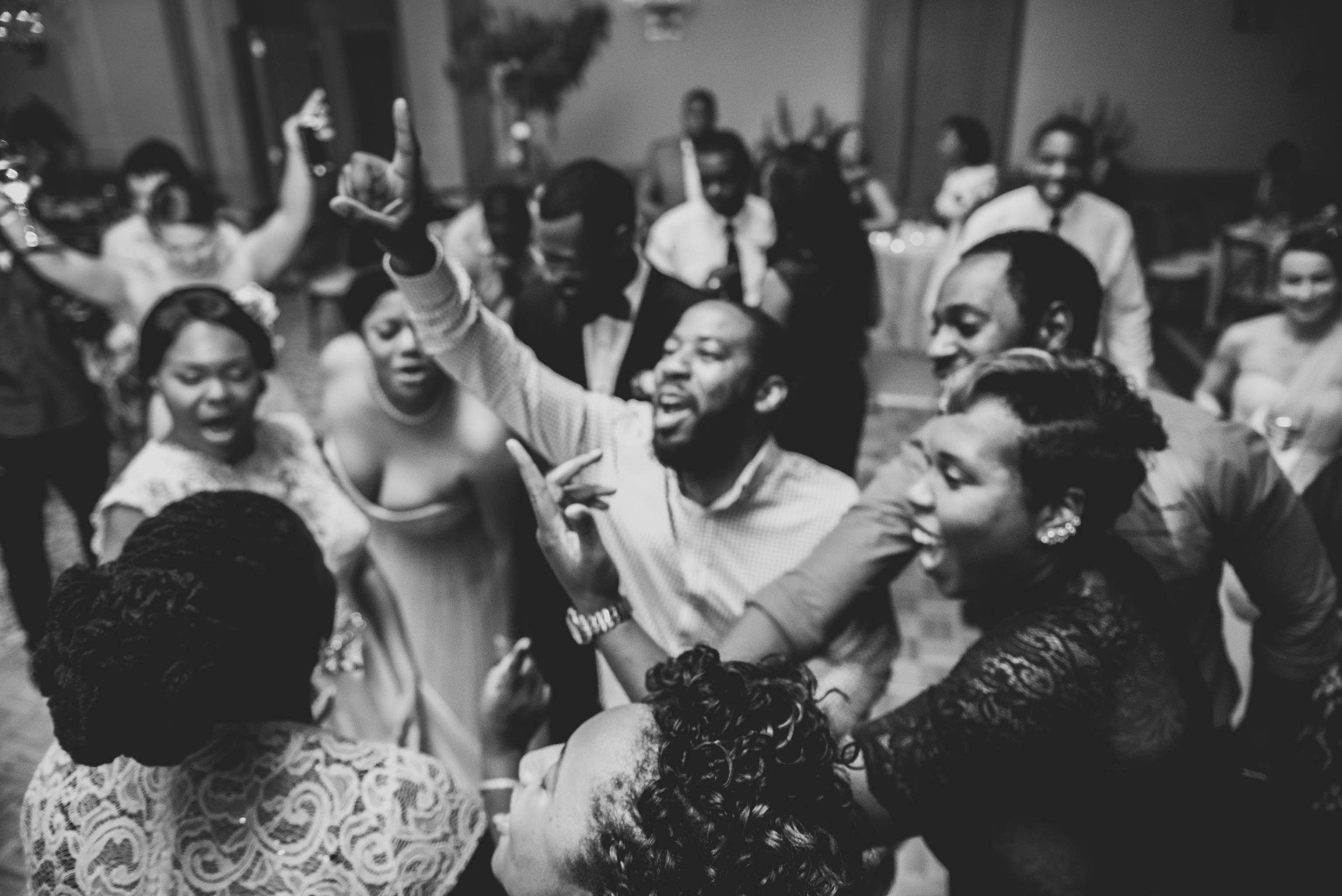 Wedding guests dancing at this Raleigh, NC wedding