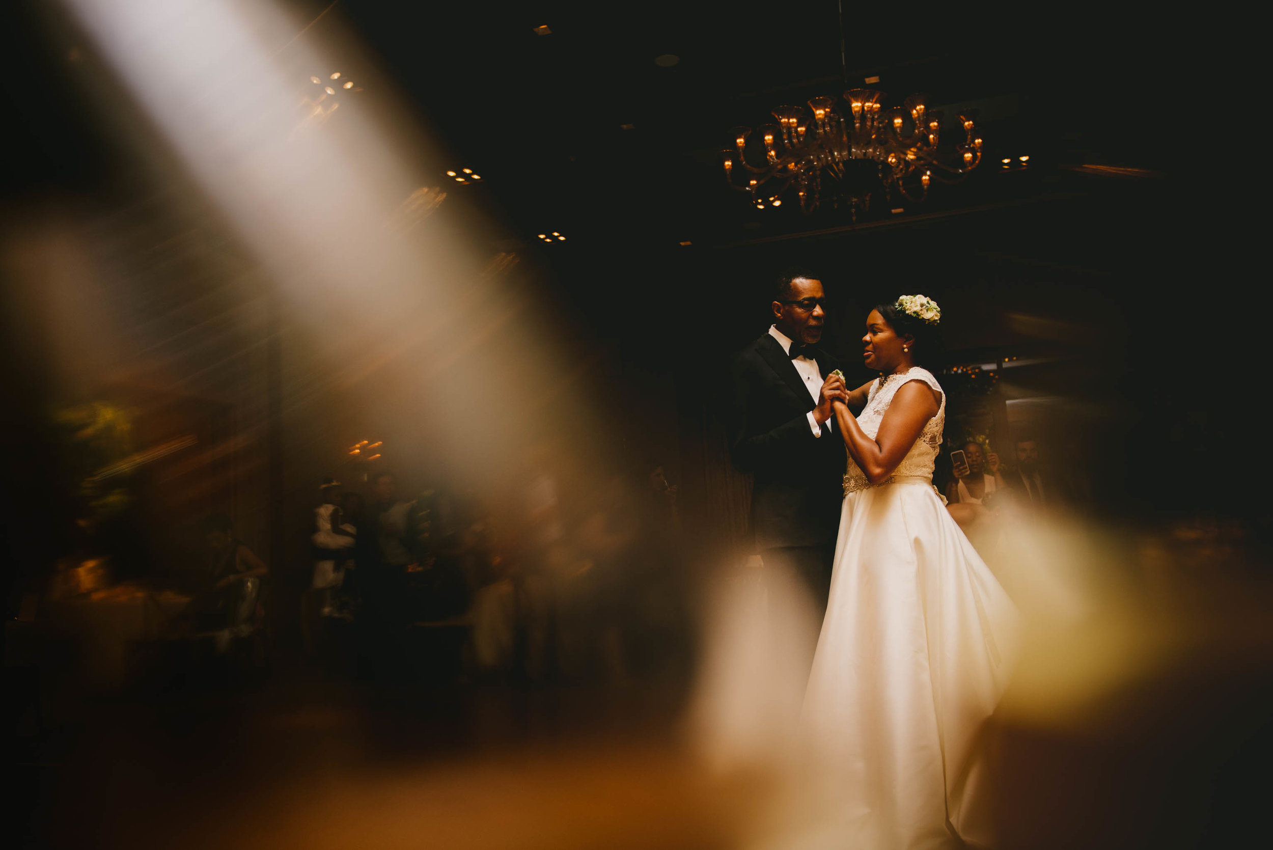 The bride and her father share a dance at this elegant wedding at the Umstead Hotel and Spa in Cary, NC