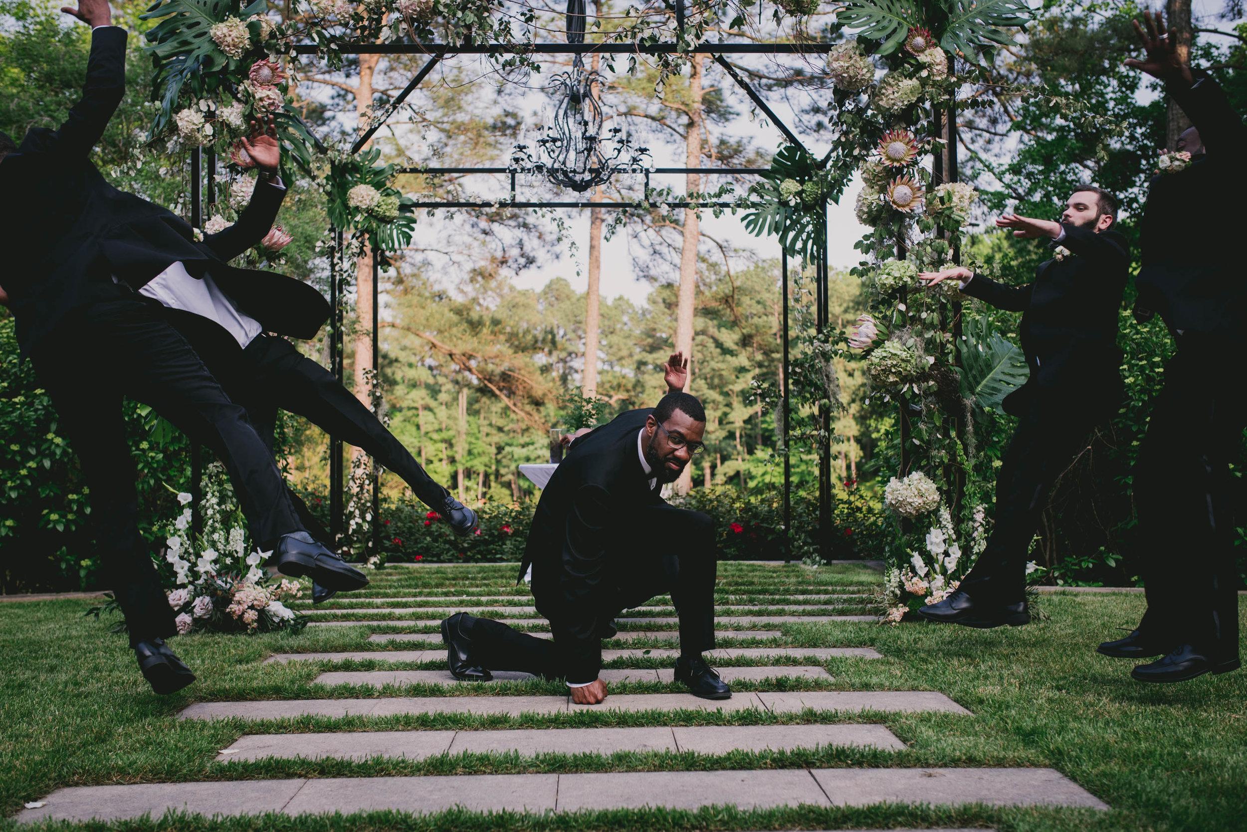 The groom loves superheroes so we made a hero photo of he and his groomsmen