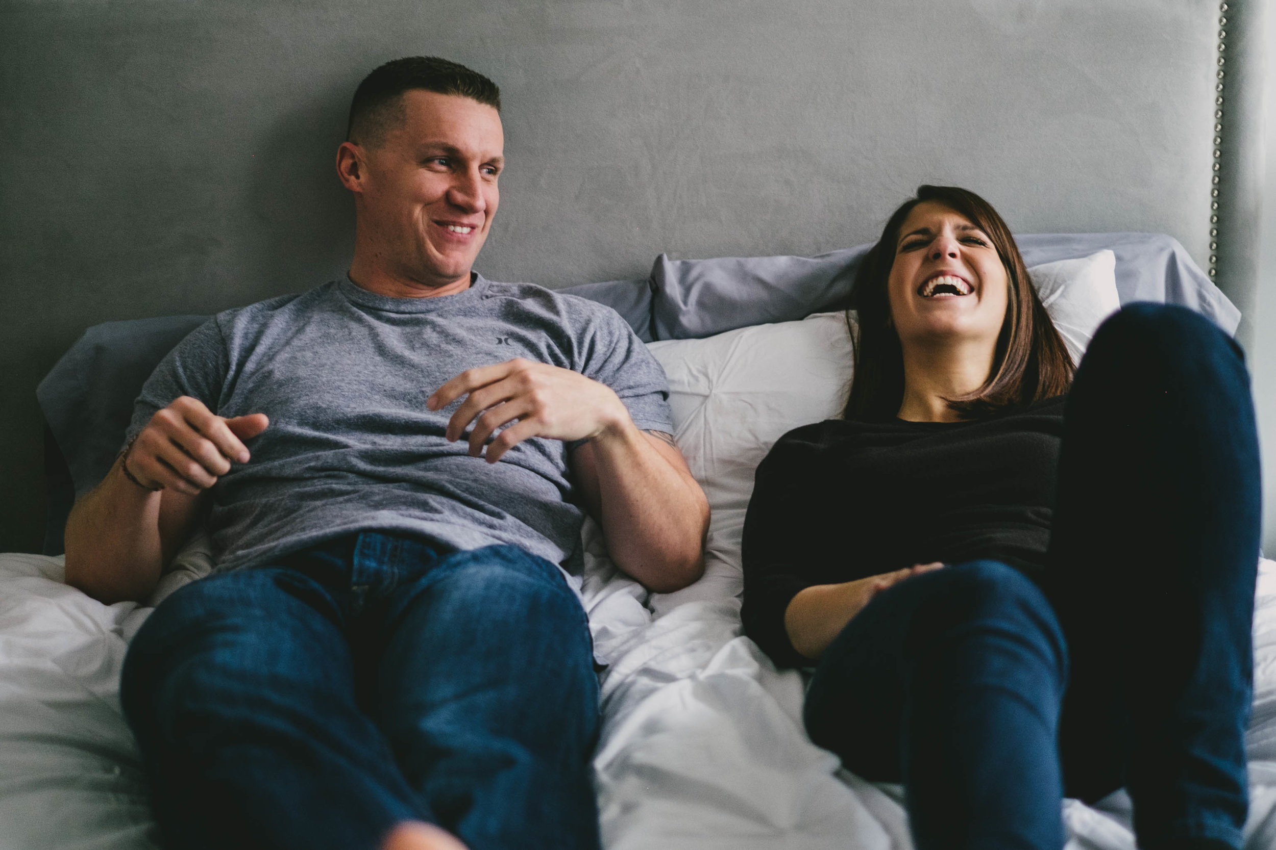 romantic in home engagement photo raleigh nc