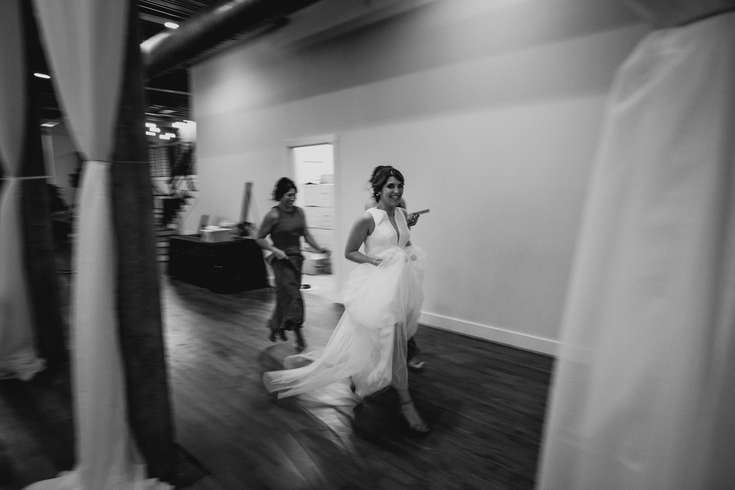 bride running off to hide before ceremony