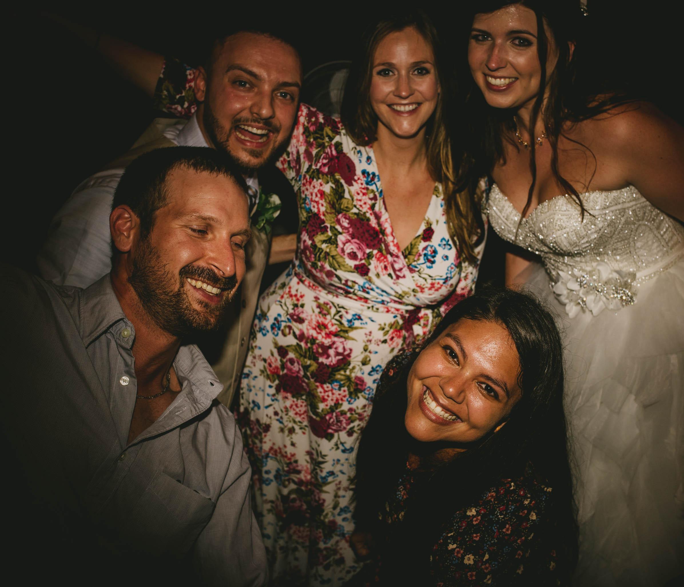 group portrait during mad dash wedding reception