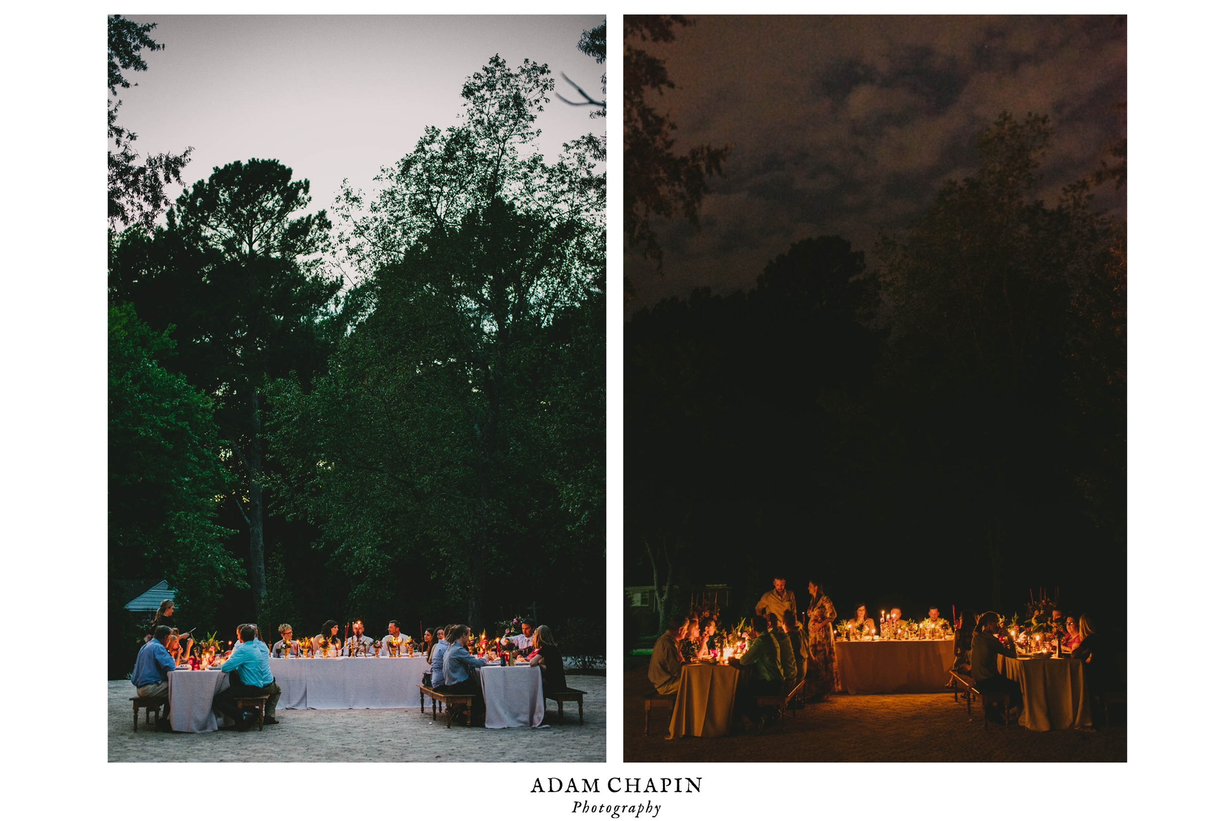 wedding reception dinner before and after dark at this mad dash wedding