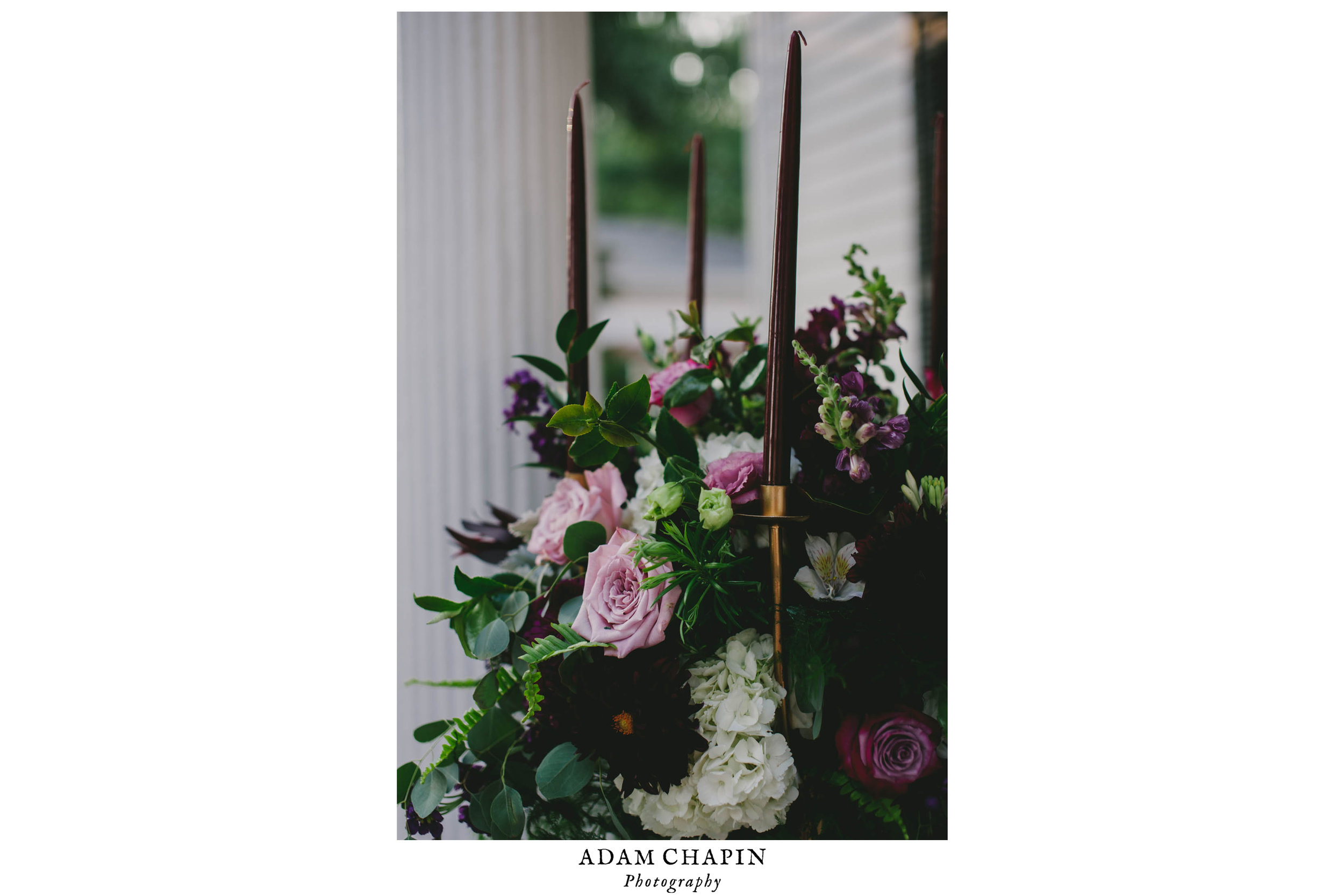 moody floral and candle accents at this mims house wedding