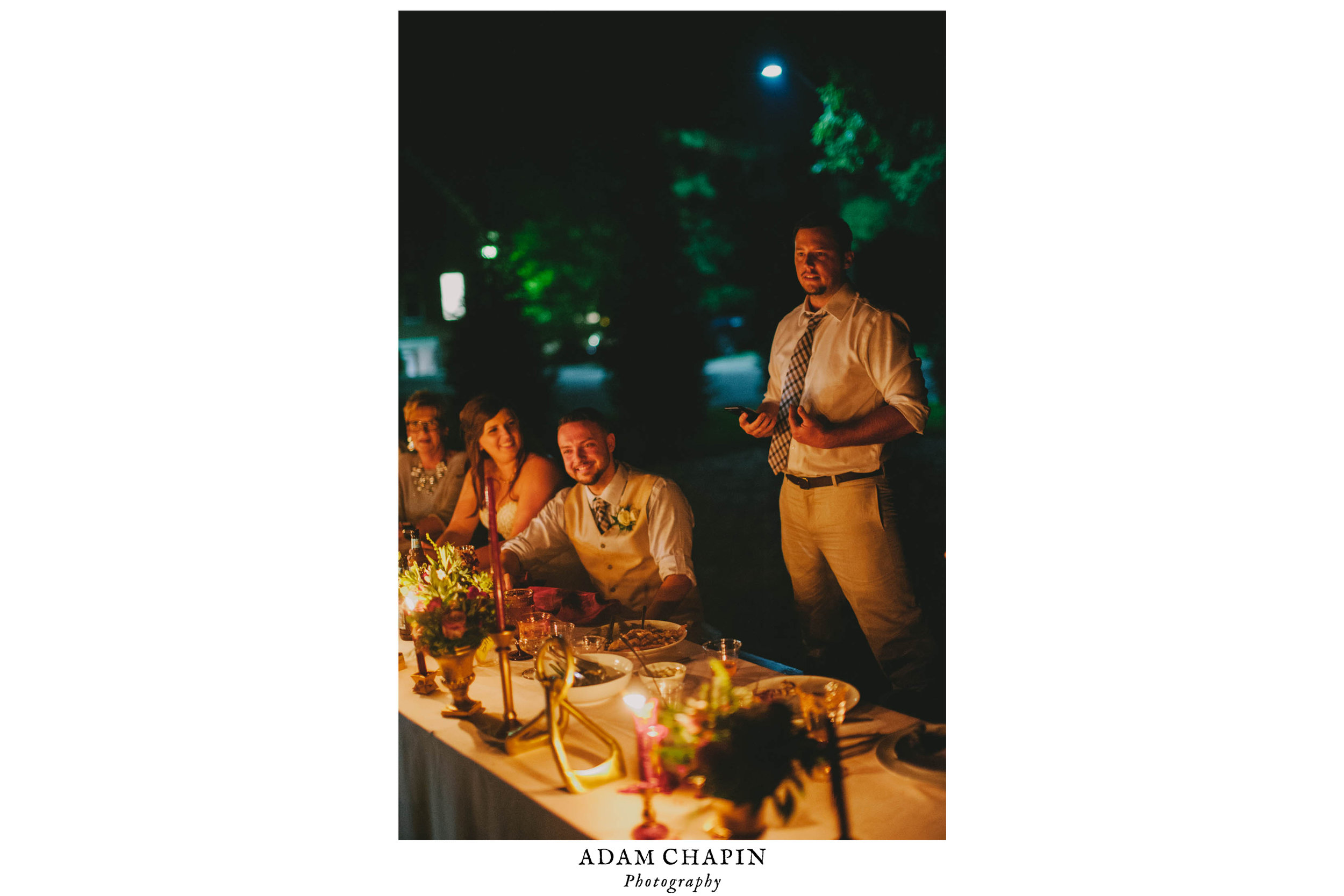 best man giving toast to bride and groom during mims house wedding