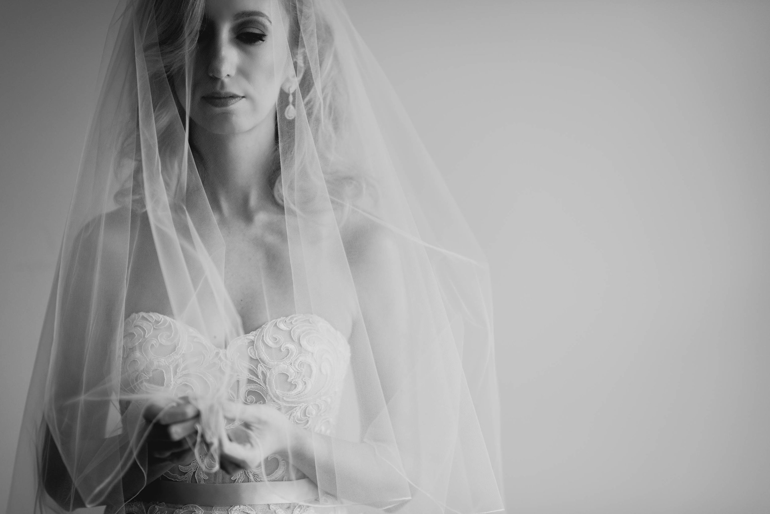 bride posing while holding her veil