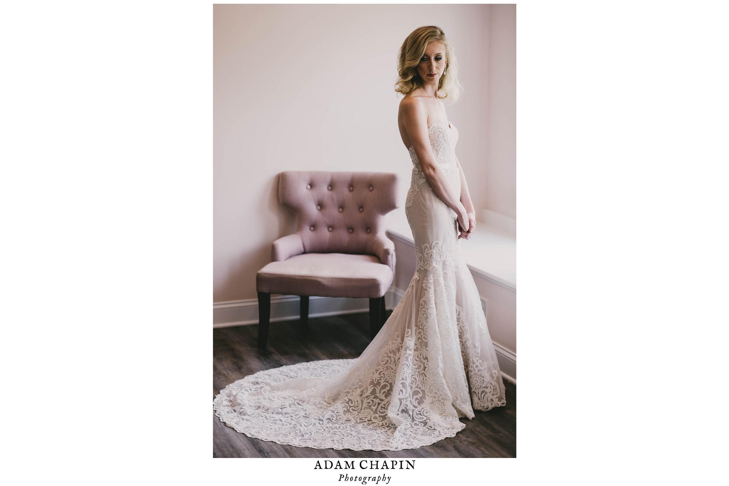 bride posing by windows