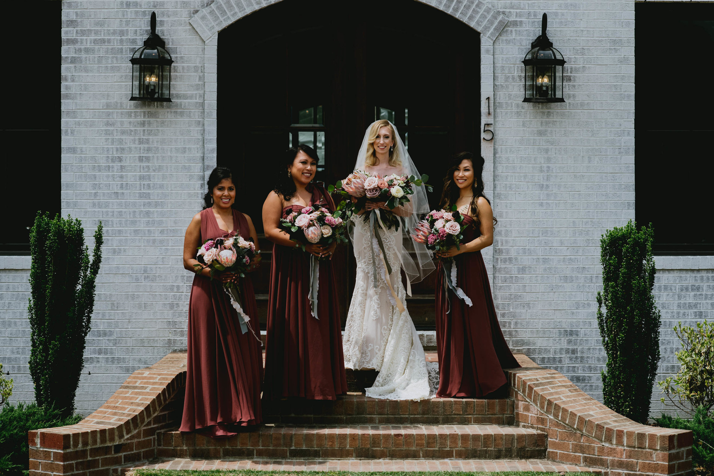 bride and her bridesmaids outside the Bradford