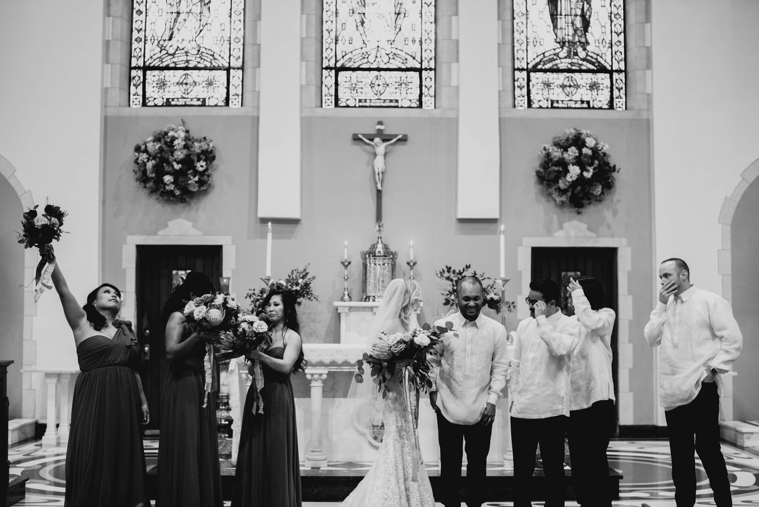 wedding party photo after wedding at Sacred Heart Cathedral