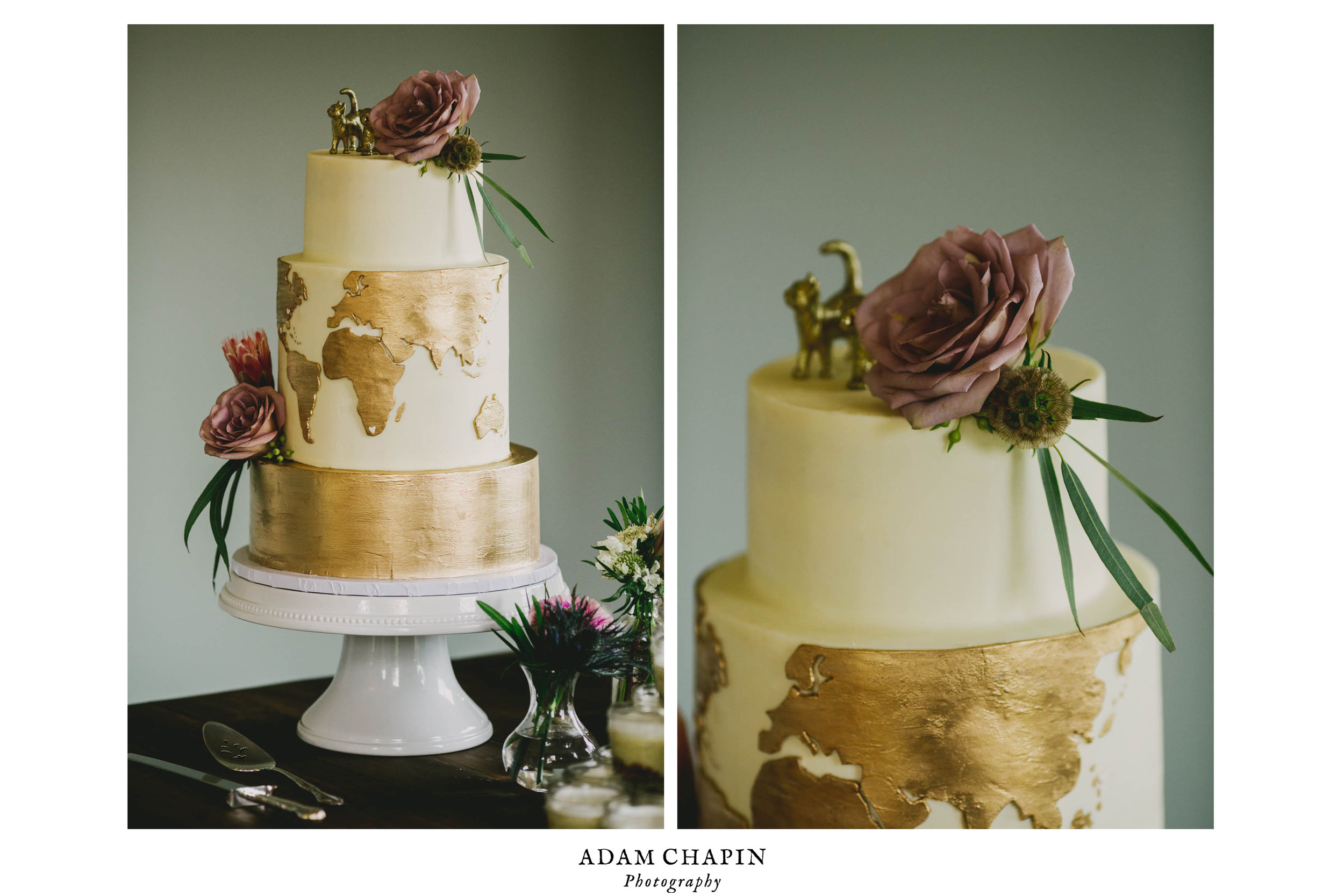 beautiful wedding cake details with cat and bear statues on top