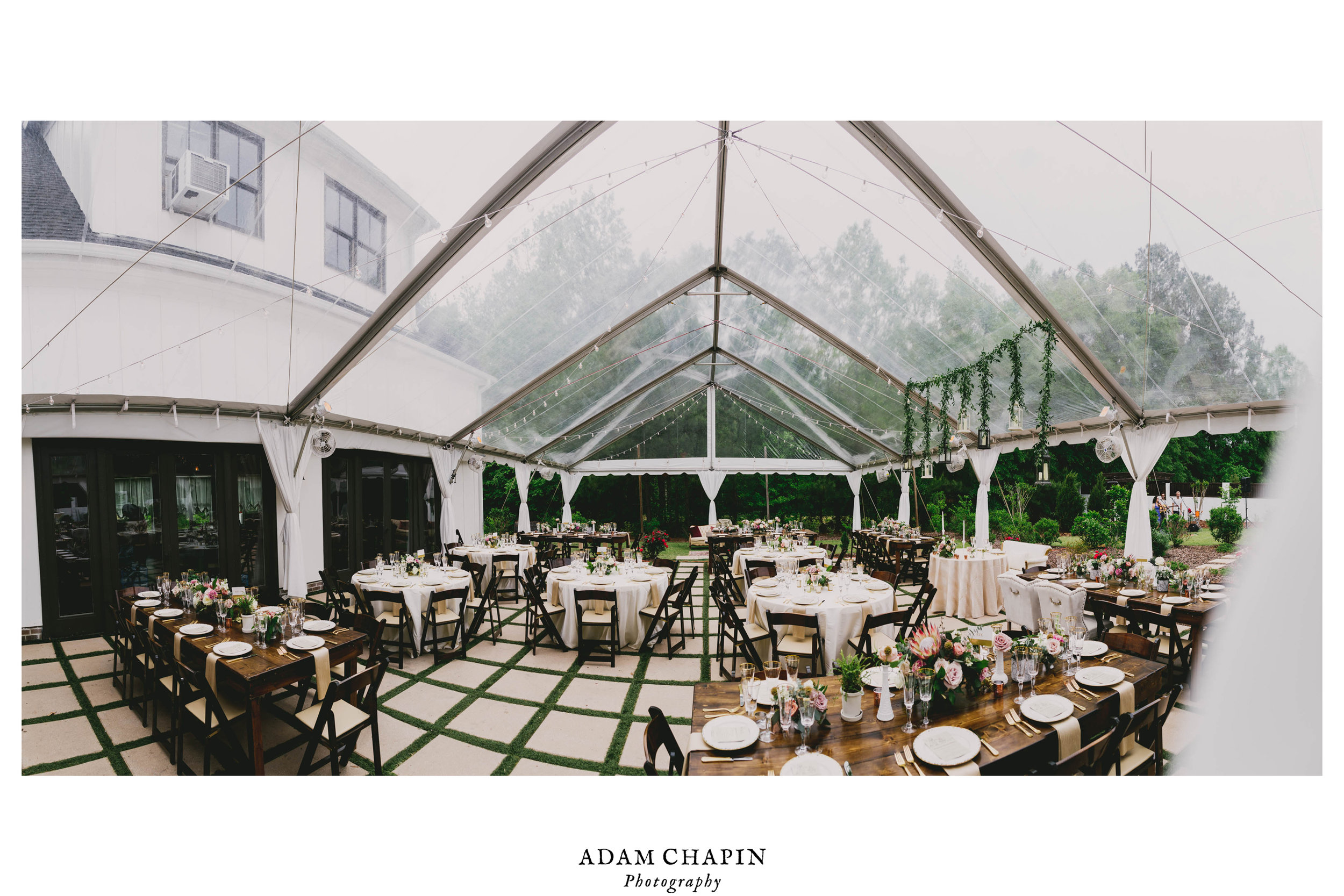panoramic photo of wedding reception dinner table details and courtyard at the Bradford