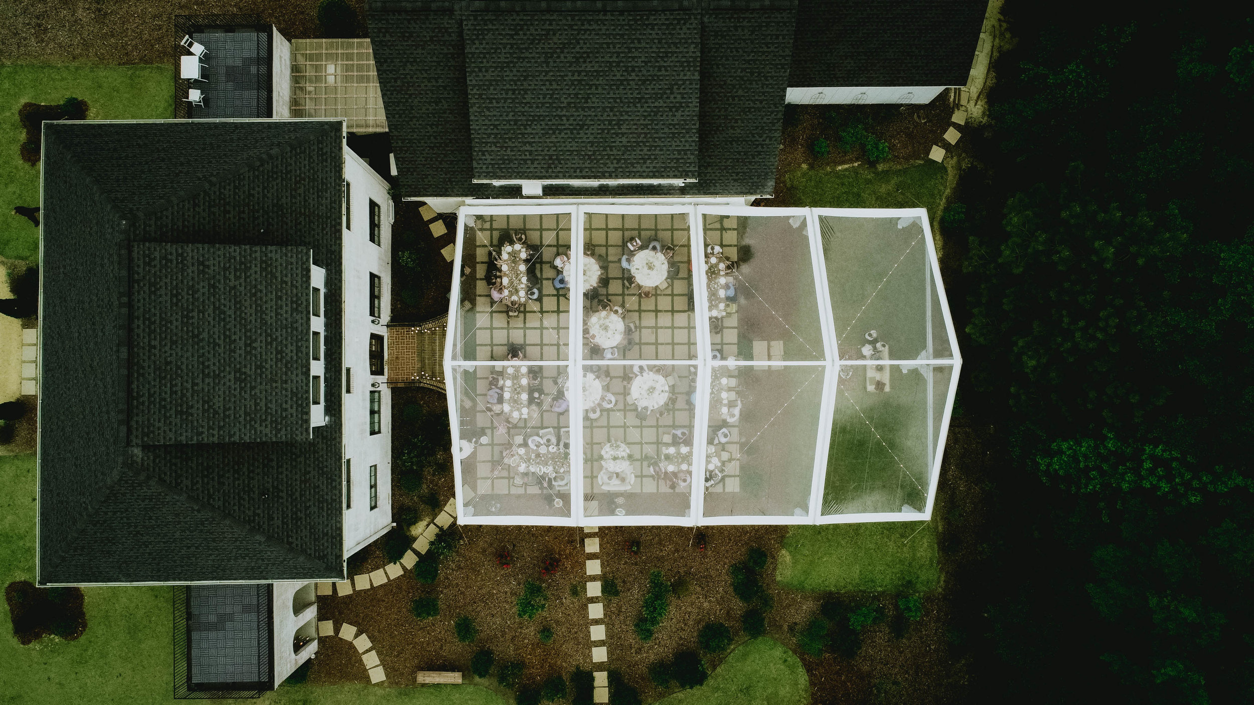 overhead photo of the wedding reception space and tenting at the Bradford