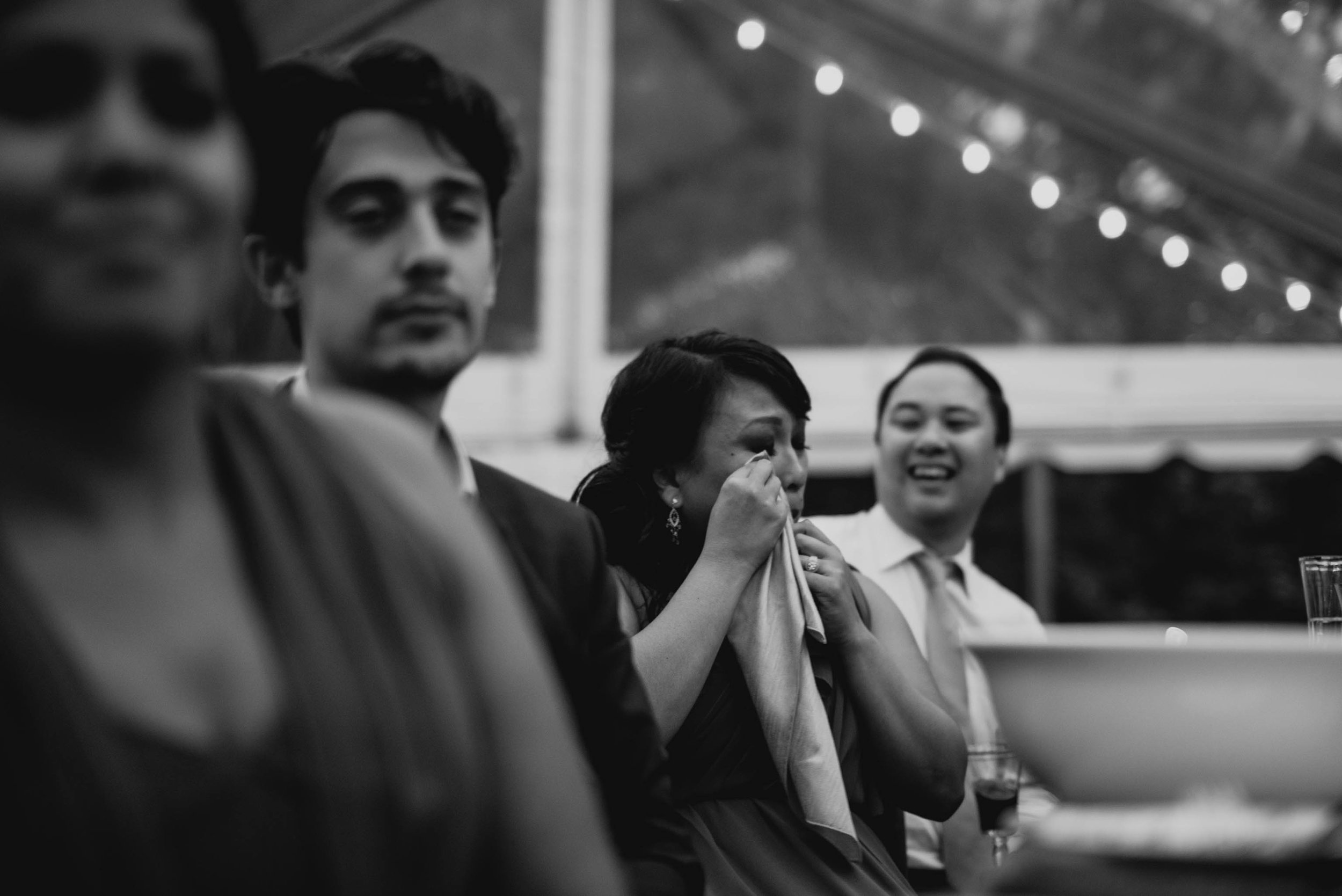 bride's sister crying during her parents speech