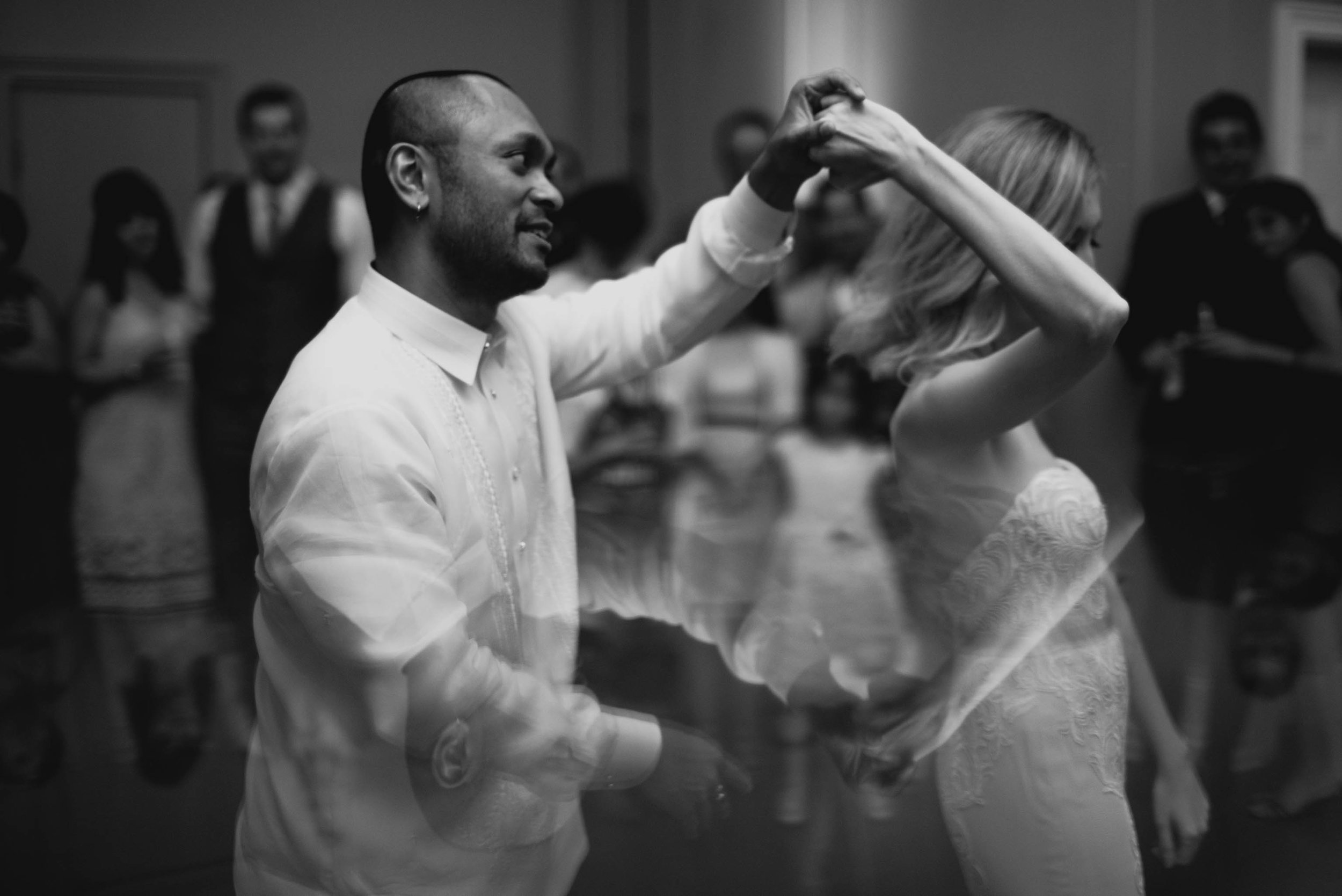 bride and groom share in their first dance