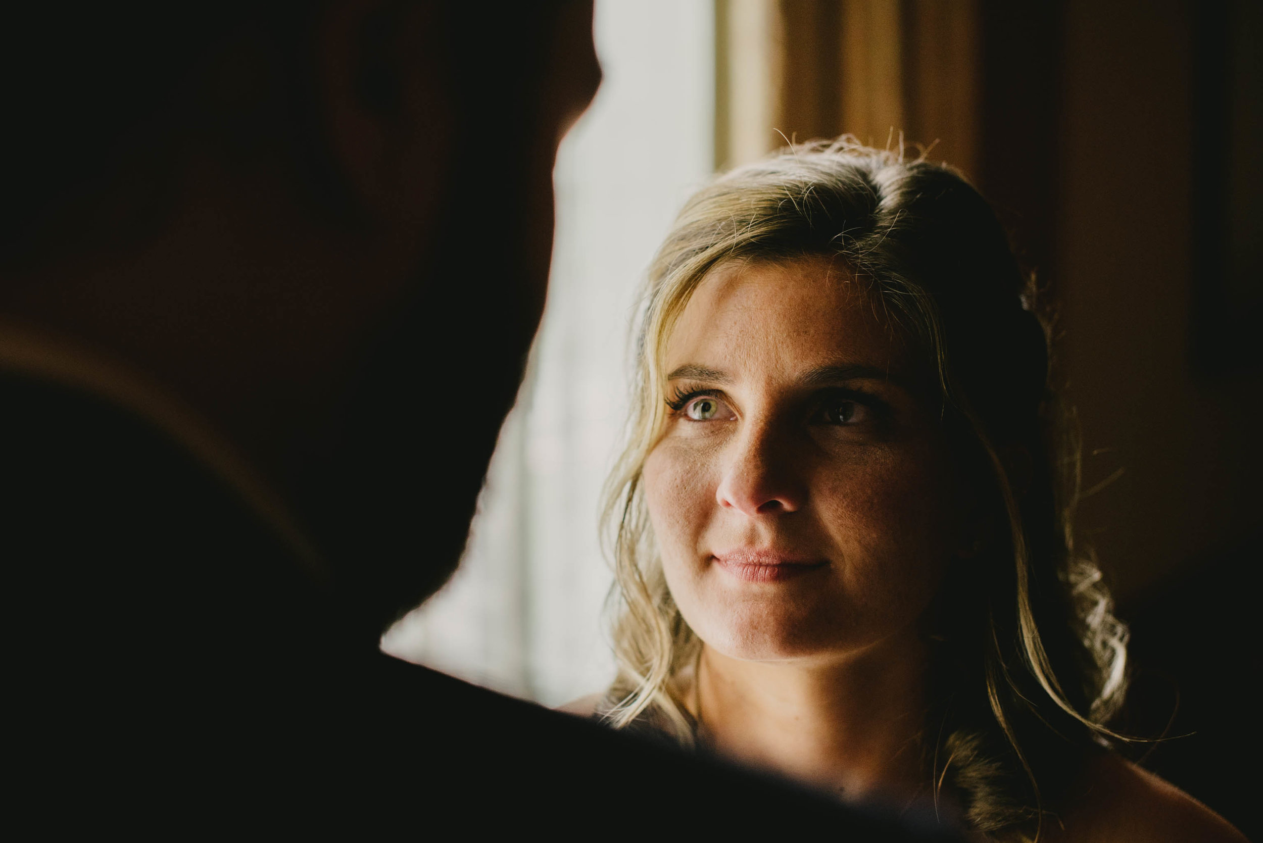 a first look between the bride and groom at the Umstead Hotel and Spa