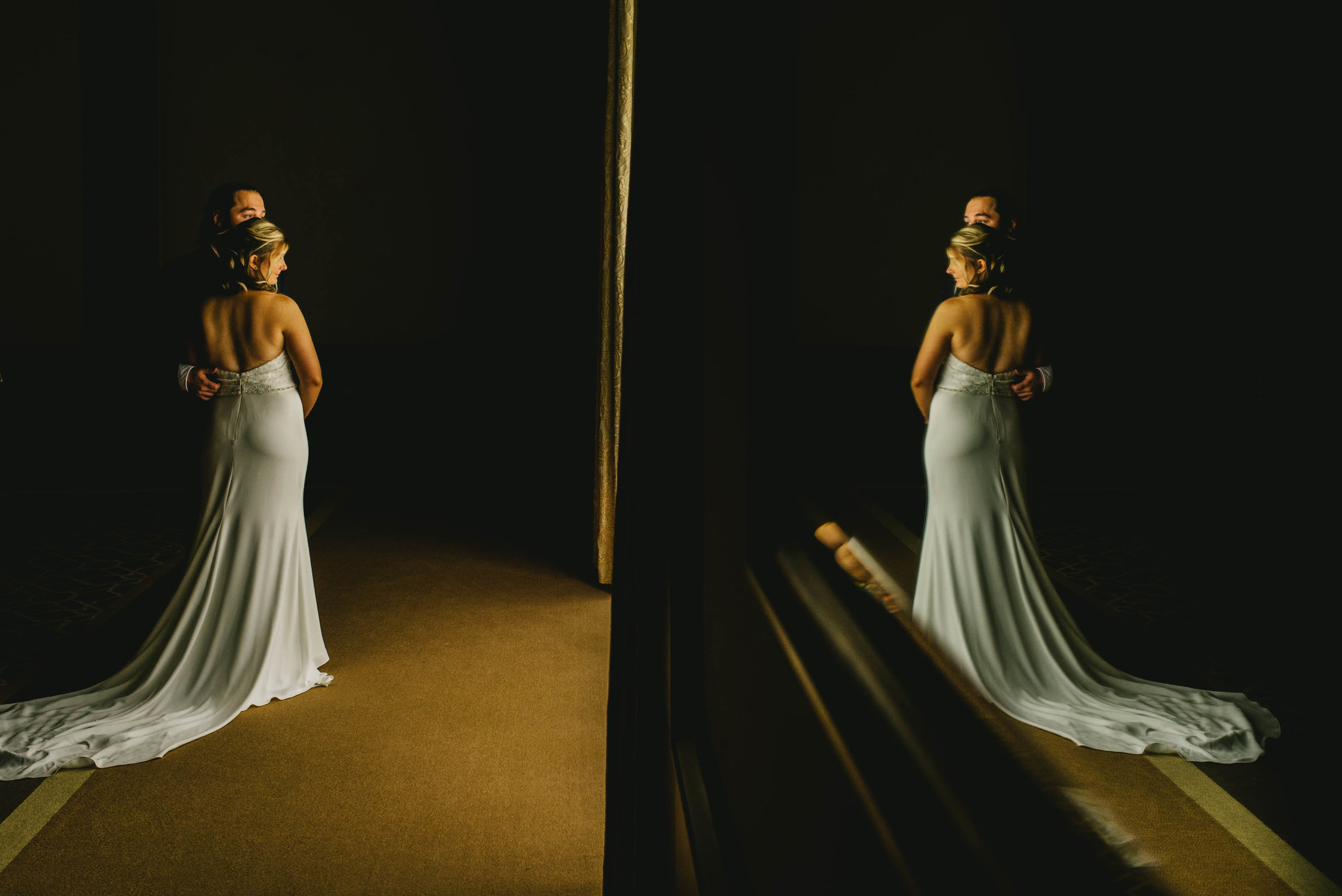 reflective portrait of bride and groom at the Umstead Hotel and Spa
