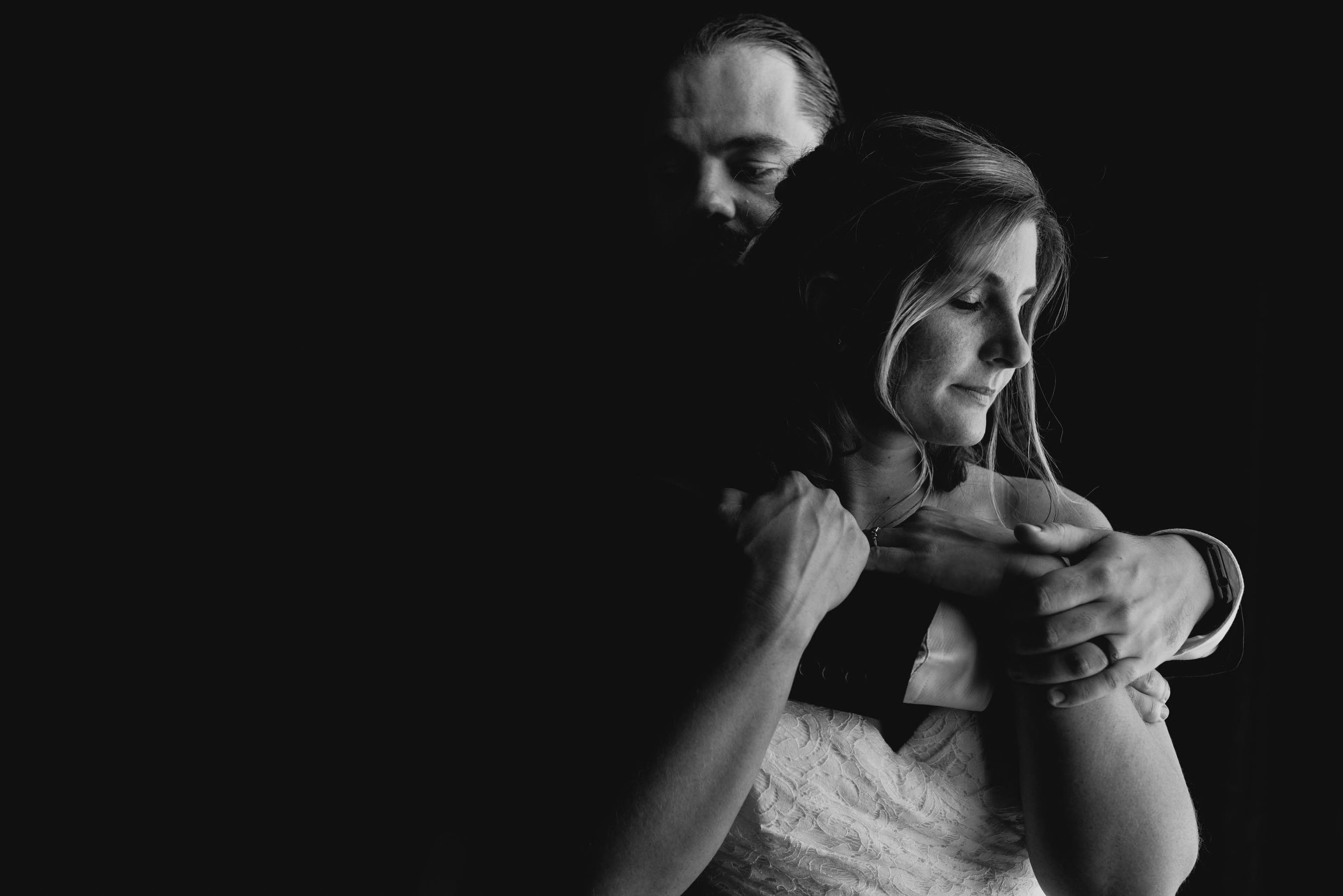 intimate portrait of bride and groom at the Umstead Hotel and Spa