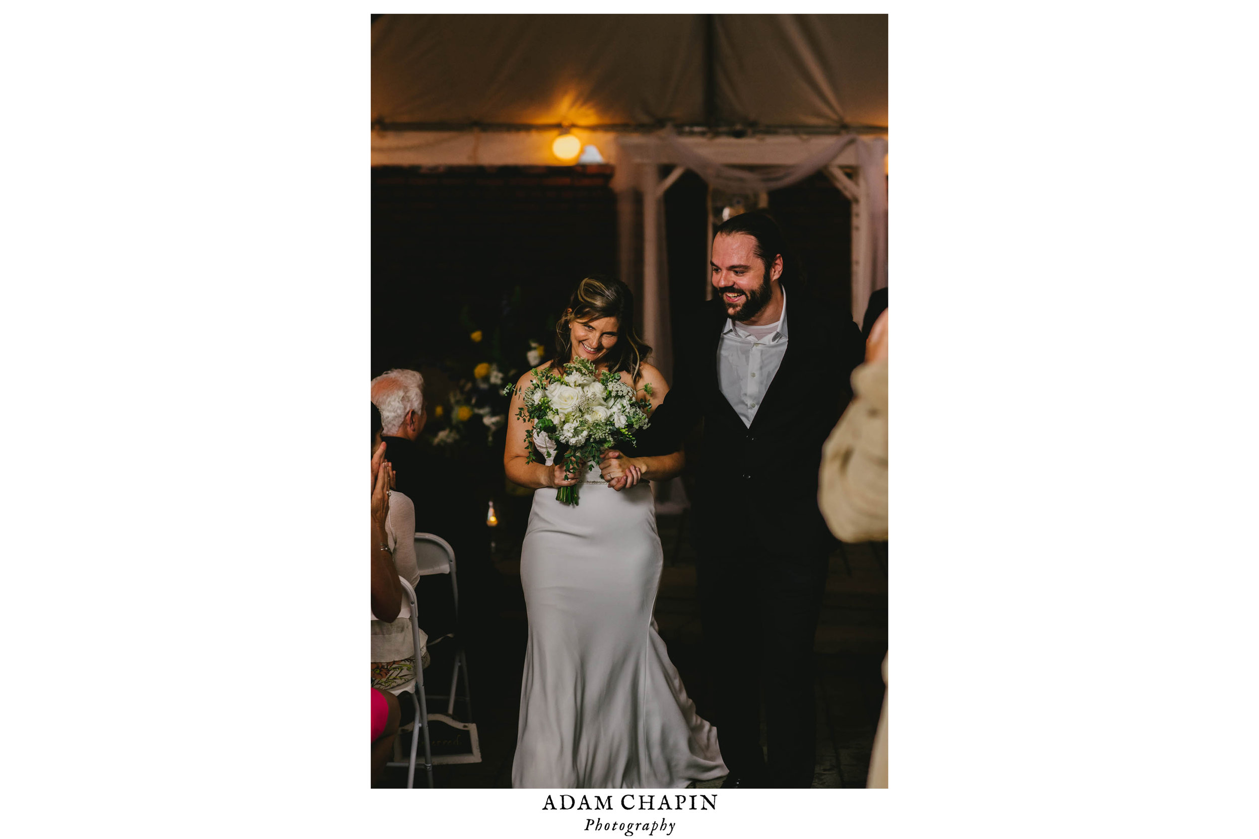 bride and groom recessional during their Jiddi Space and Courtyard Wedding at Sitti Restaurant